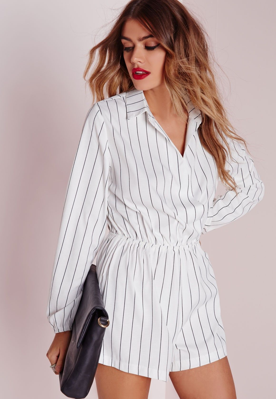 ec109ed6de2 Missguided - Stripe Wrap Front Shirt Playsuit Monochrome