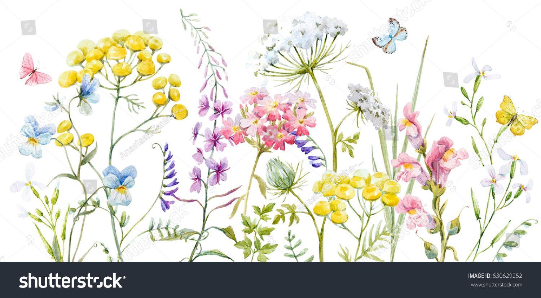 Cartoon Wildflowers Original Watercolor Painting