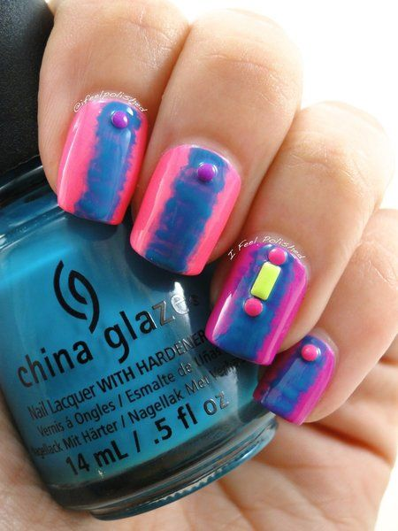 Neon Nail Art with #Chinaglaze pink and tealish blue. #nailart #nails #mani #polish - For more nail looks or to share yours, go to bellashoot.com