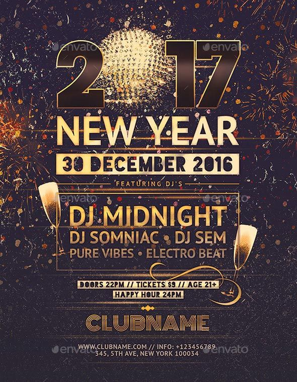 Search  Stunning New Year Flyer Templates   Free Psd