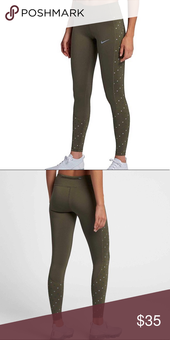 28ffa30851c66 Nike Women's Racer Flash Running Tights Only worn once! Olive Green with  reflective dots to