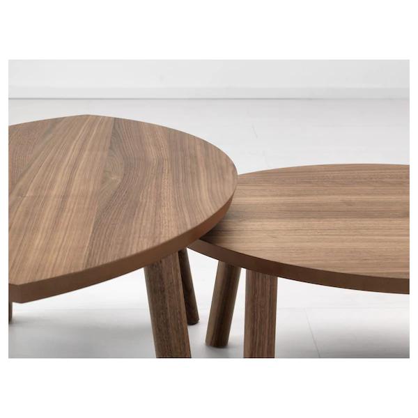 Stockholm طاولات متداخلة طقم من 2 قشرة خشب الجوز Ikea Nesting Tables Round Walnut Coffee Table Walnut Veneer