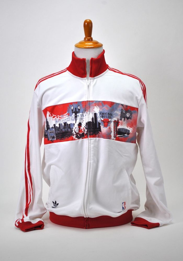 Adidas Chicago Bulls bianca rosso City Jacket NBA Originals NBA Jacket Size XL   aa4356