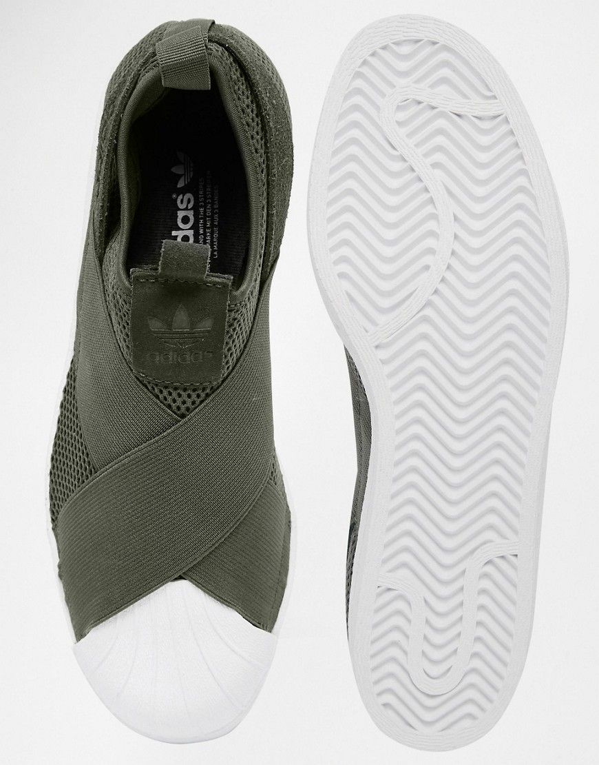 Shop adidas Originals Khaki Superstar Slip On Sneakers at ASOS.