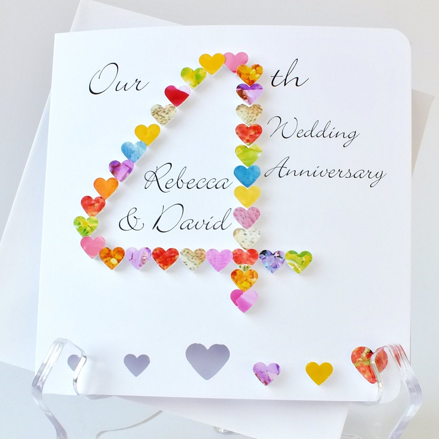 Handmade 3D 4th Wedding Anniversary Card, Personalised Fourth Anniversary  Card, Personalized Husband Wife Card. Printable Anniversary ...  Printable Anniversary Cards For Husband