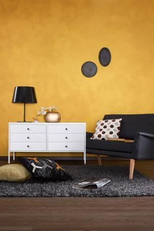 Wandgestaltung in Metall-Optik - SCHÖNER WOHNEN-Farbe Wand, Gold - schöner wohnen farben wohnzimmer