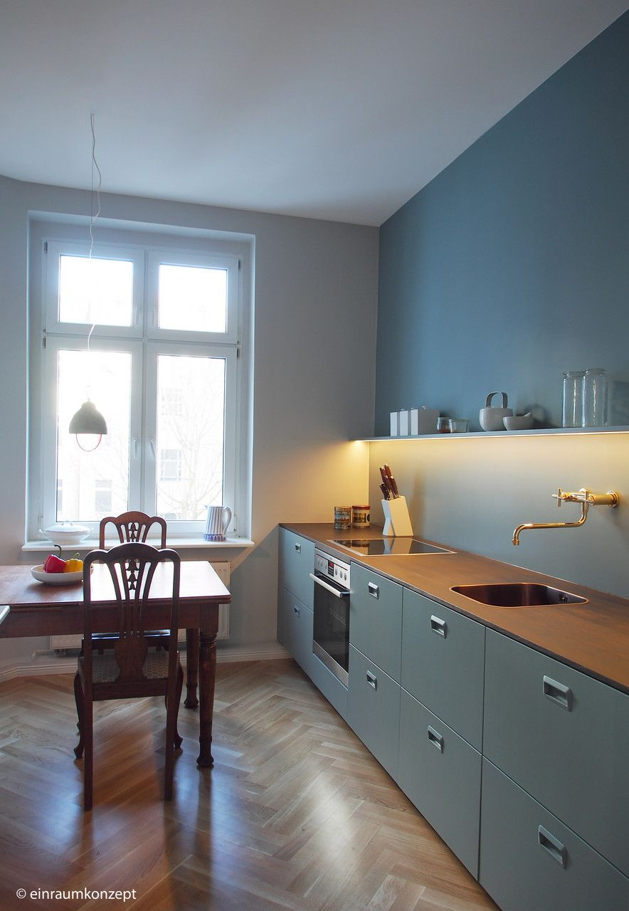 Kuche Kitchen Berlin Interior Design Boden Holz Farrow Ball