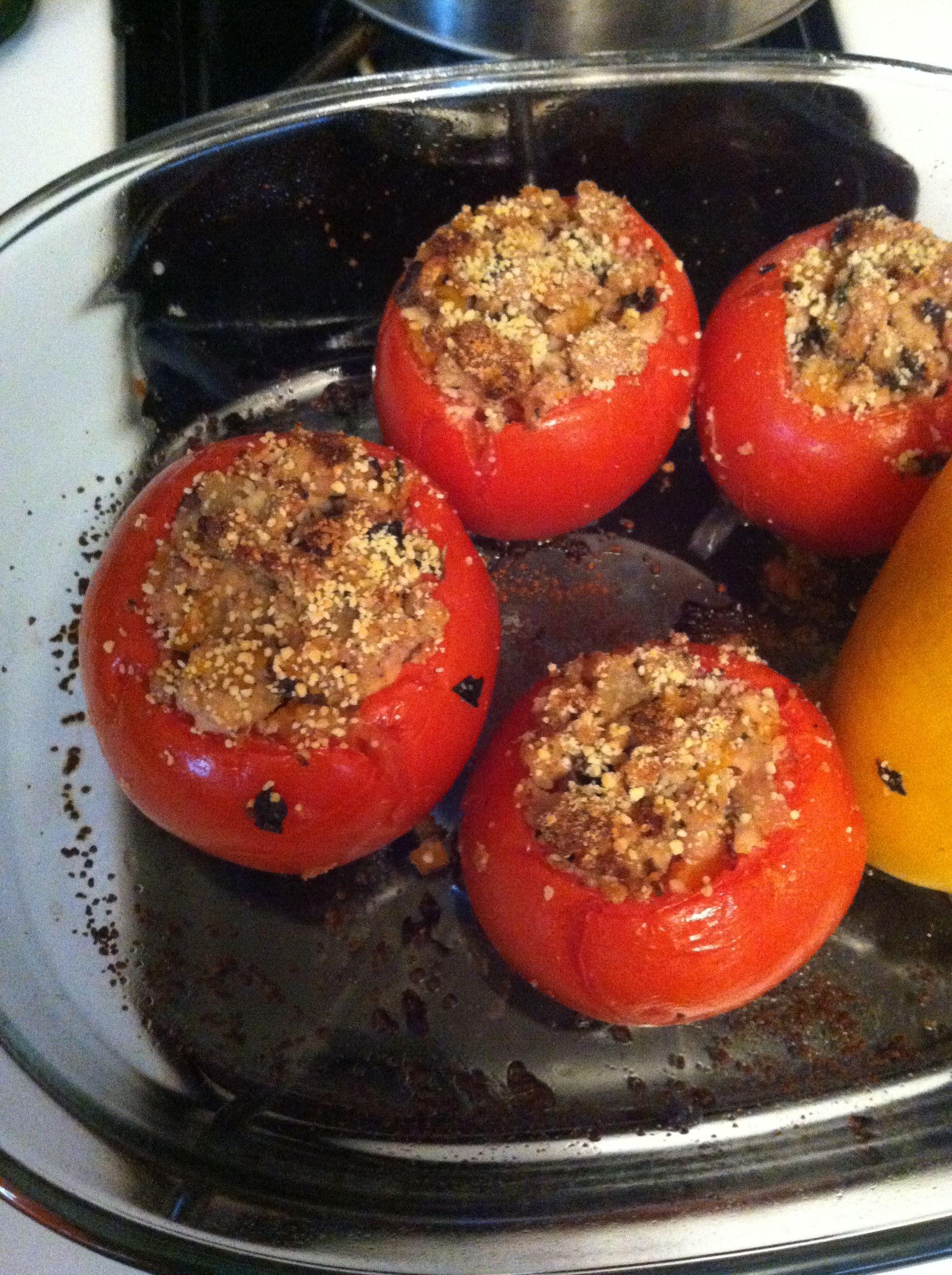 Italian sausage stuffed tomatoes