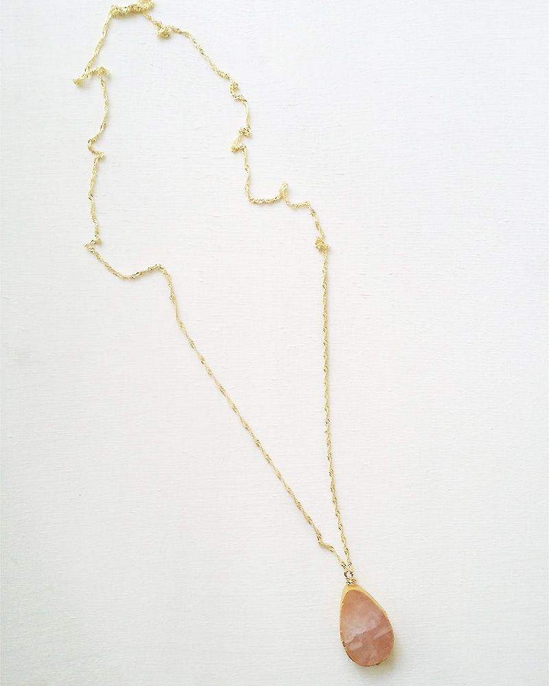 Handmade Gemstone Necklaces Pink Agate Long
