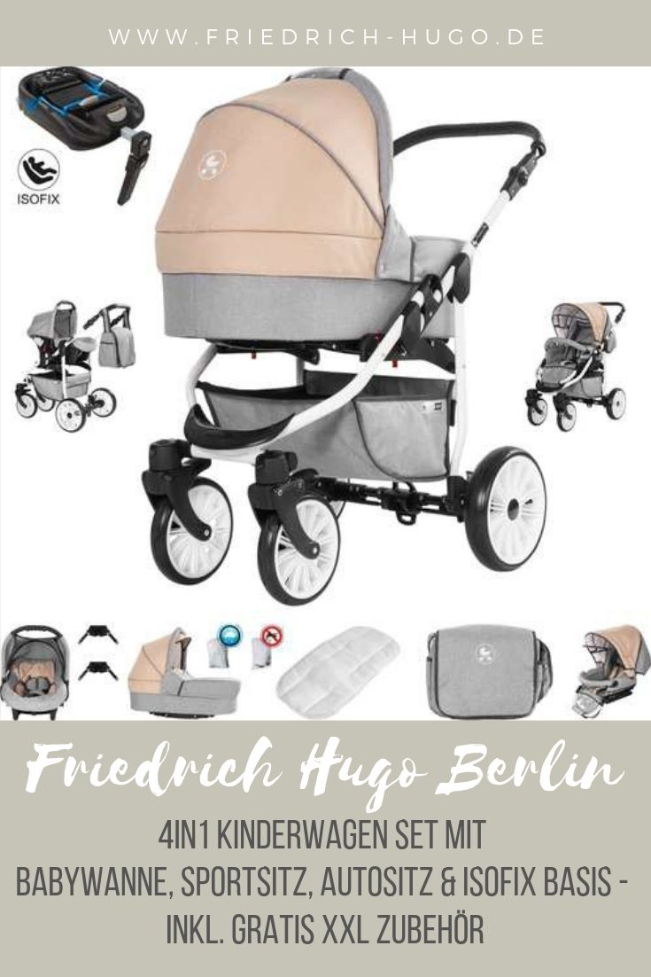 Friedrich Hugo Berlin Luftreifen 3 in 1 Kombi Kinderwagen Komplettset Farbe: Dark Blue and Beige Day