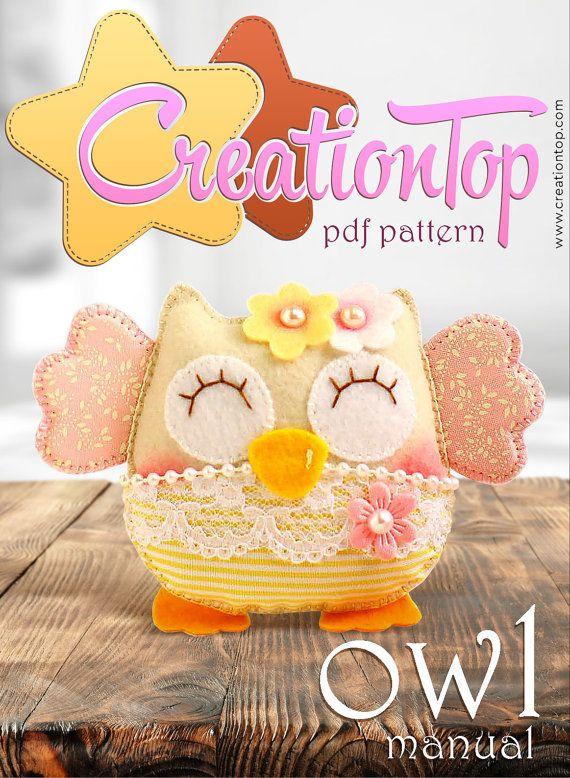 PDF felt Pattern Pretty Owl by CreationtopSupplies on Etsy