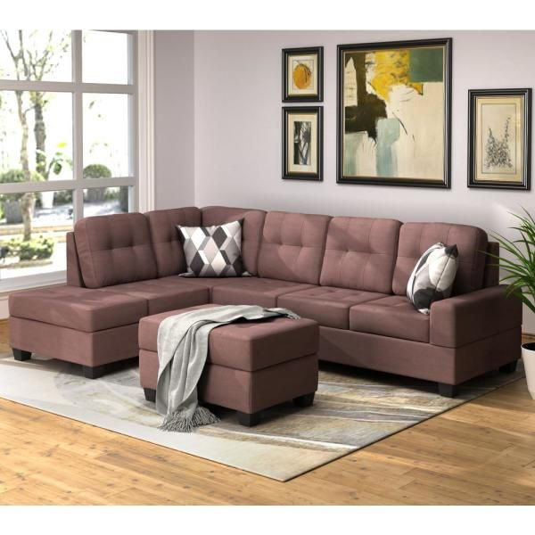 Harper & Bright Designs Brown 3-Piece Sectional Sofa with ...
