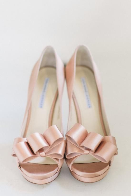 Pink Wedding Shoes With Bows Ties Blushes