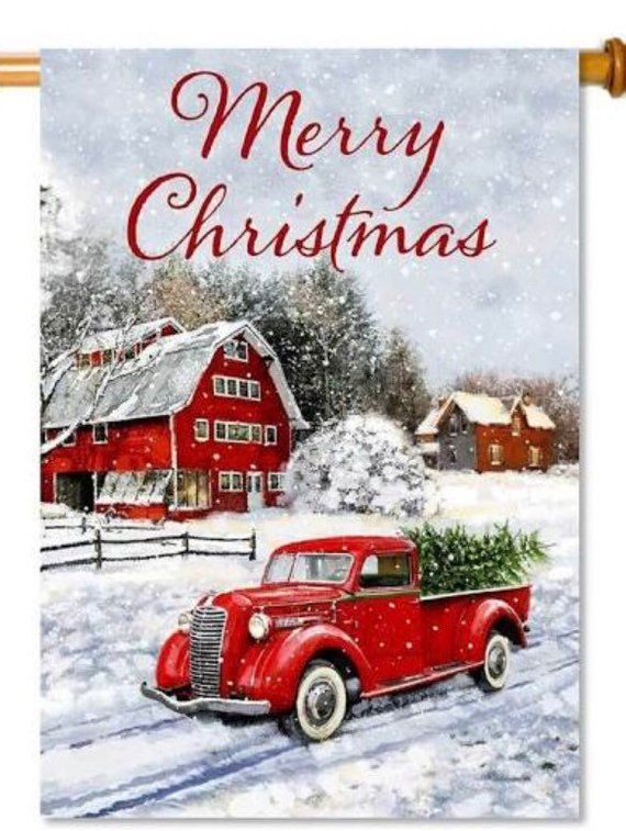 Vintage Red Truck Christmas Placemats.Red Truck Flag Flag Red Truck Spring Flag Garden Flag