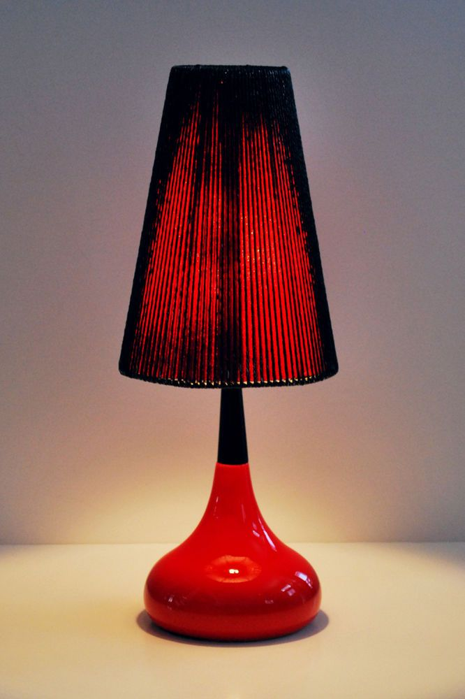 Mid Century Modern Danish Ceramic Red Color Glaze Table Lamp With Original Shade Red Lamp Shade Lamp Table Lamp