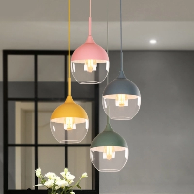 1 Light Teardrop Pendant Lighting Modern Chic Glass Shade Hanging