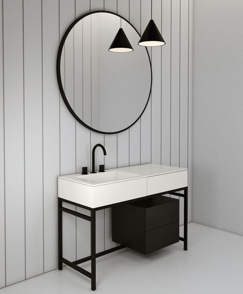 Meuble vasque à poser / en bois / en céramique / contemporain MILANO - Meuble Vasque A Poser Salle De Bain