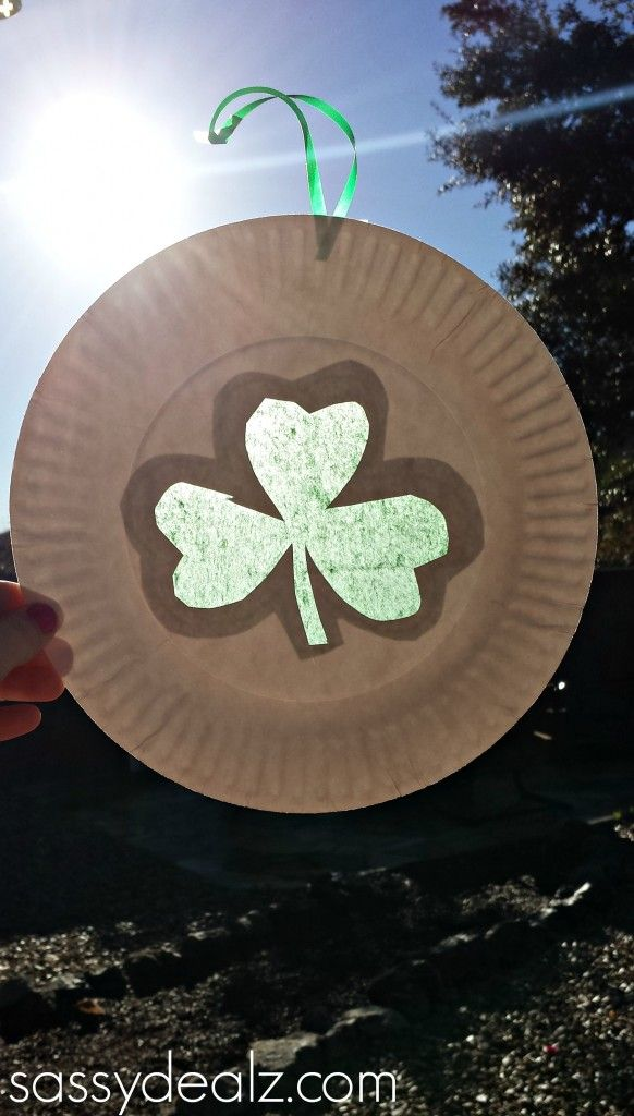 Paper Plate Shamrock Sun Catcher For A St Patrick S Day Craft