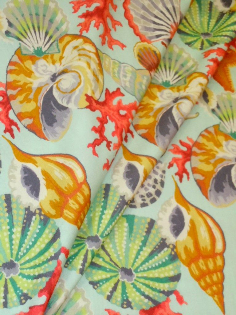 High End Tropical Beach Design Shells And Coral Decor Fabric See At Http Store Schindlersfabrics Com Haseoc Html Ha Coral Decor Fabric Decor Green And Grey