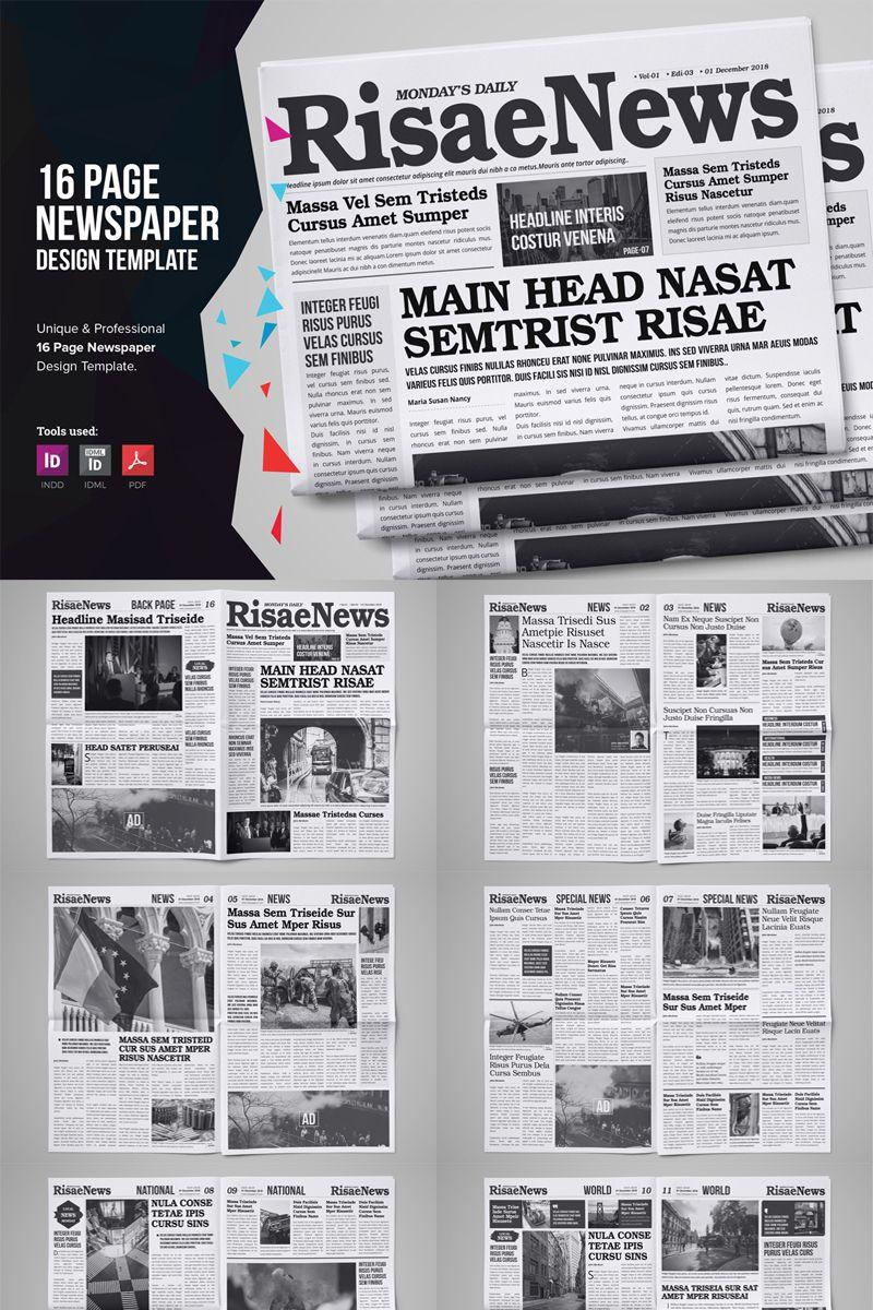 16 Page Newspaper Design Corporate Identity Template 75610