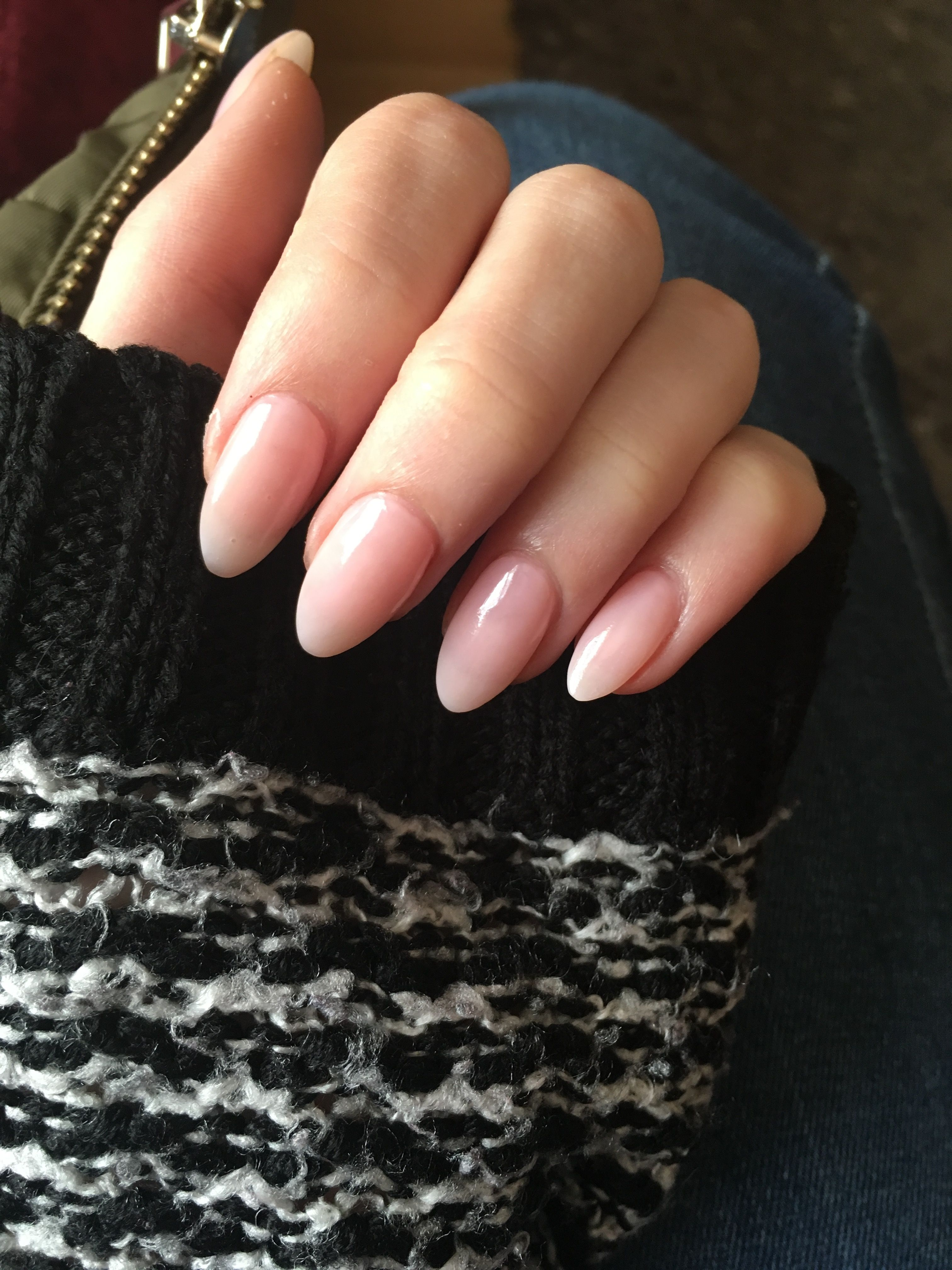 Sheer Pink Natural Acrylic Almond Nails Classy Acrylic Nails Natural Acrylic Nails Natural Nail Designs