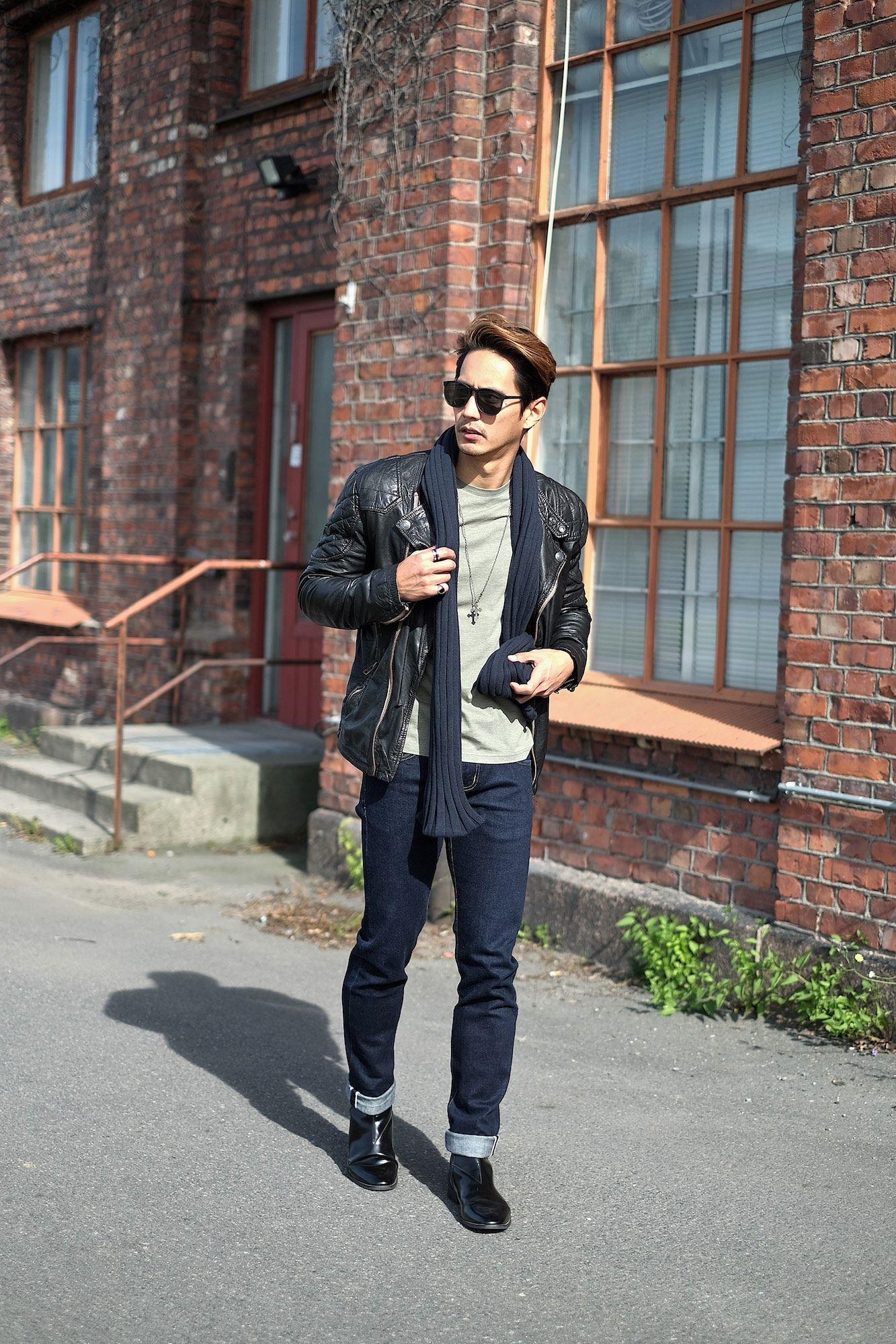 black leather jacket + green t-shirt + dark wash cuffed jeans +
