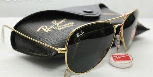 ray ban aviator sunglasses black lens gold frame