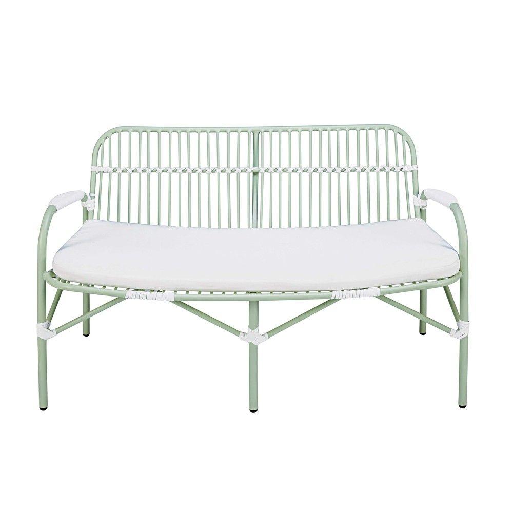 Banc de jardin 2 places en aluminium vert clair et coussin blanc ...
