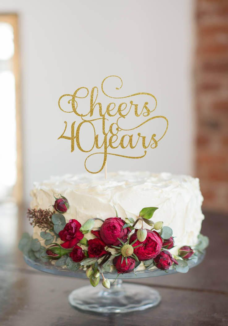 Cheers to 40 years cake topper cake decoration glitter