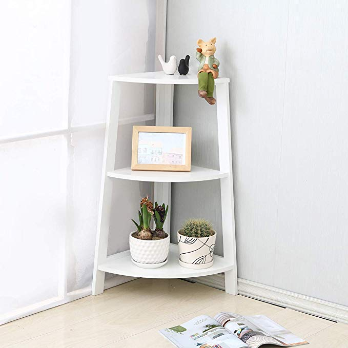Exqui 3 Tier Corner Shelf Unit Mdf White Corner Wall Ladder Freestanding Storage Display Shelves Bookcase Book In 2020 Freestanding Storage Corner Bookshelves Bookcase