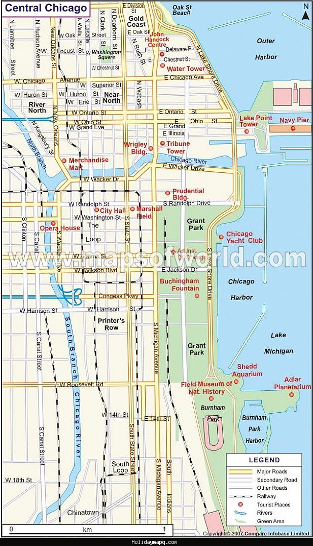 awesome Map of Chicago Tourist | Holidaymapq | Map, Chicago, ... on