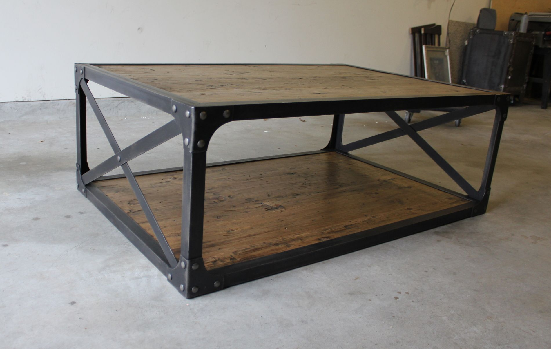 distressed industrial furniture. Industrial Coffee Table, Matte Finish Similar To Reclaimed Wood. Steel Frame, Distressed And Furniture U