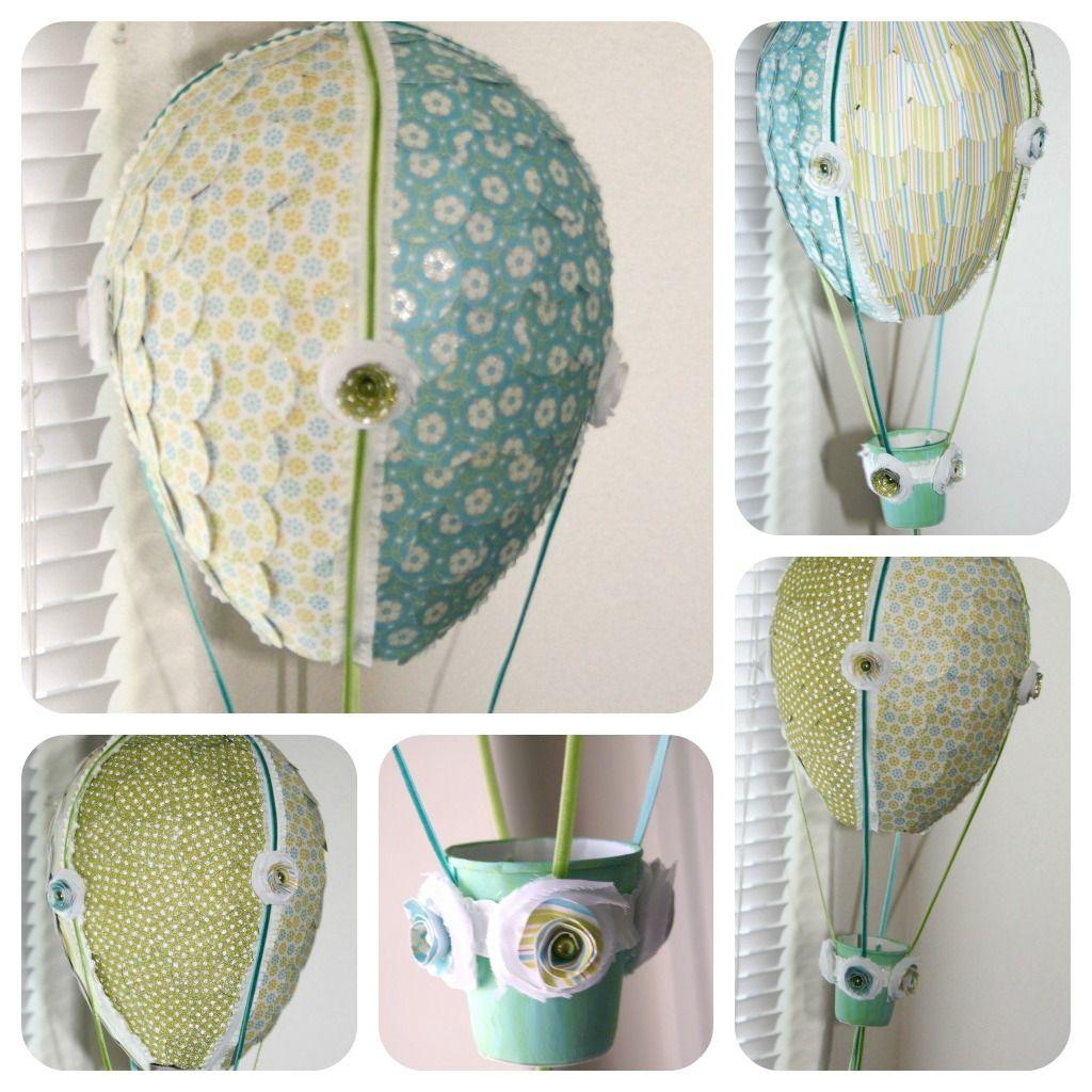 How to make scrapbook decorations - Hot Air Balloons Balloon Glue Newspaper Circle Cutter Yarn Scrapbook