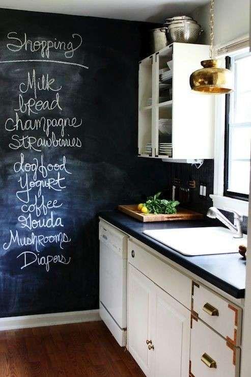 Idee colore pareti cucina - Parete con vernice lavagna | Interiors