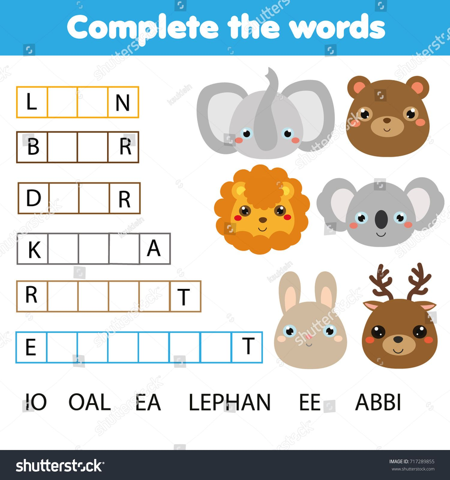 Educational Children Game Complete The Words Kids