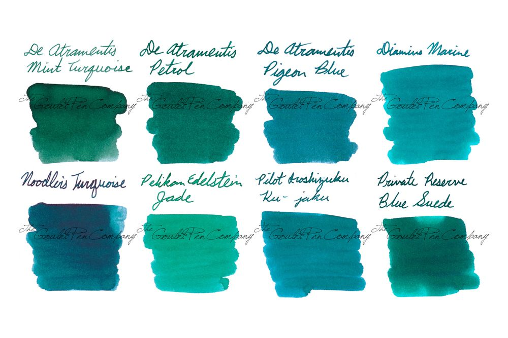 2ml Samples Of 8 Of Our Most Popular Blue Green Teal Fountain Pen