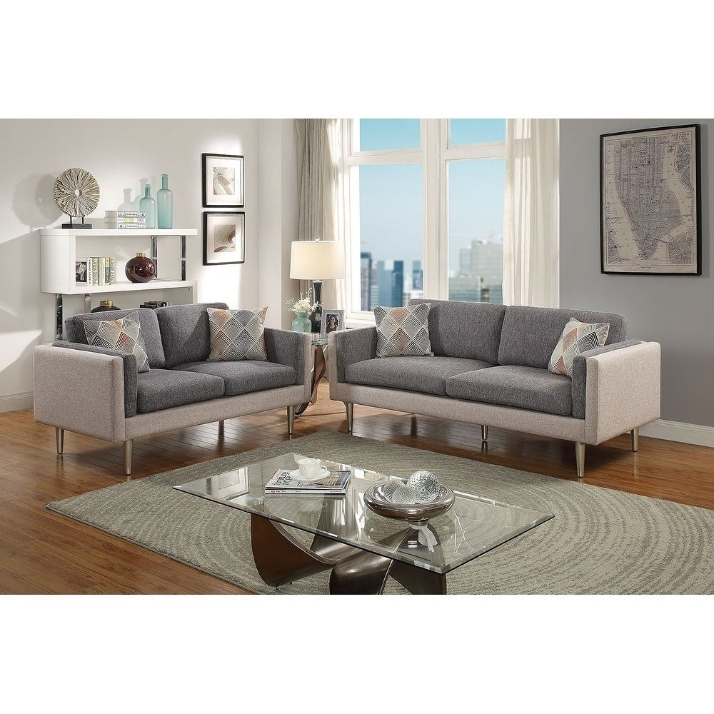 Bobkona Alwin Cotton Blended Polyfabric 2 Piece Sofa And