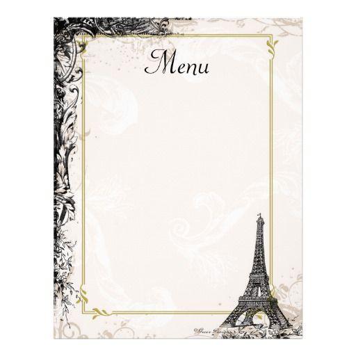 Eiffel Tower Menu Vintage French Style | Zazzle.ca | 20' Paris