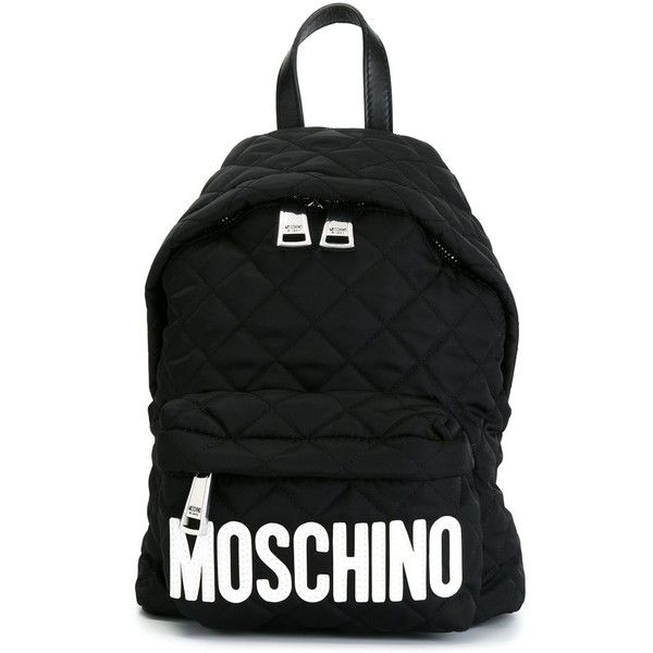 Moschino quilted backpack ($470) ❤ liked on Polyvore featuring bags, backpacks, black, black quilted bag, black rucksack, quilted backpack, rucksack bag and black quilted backpack