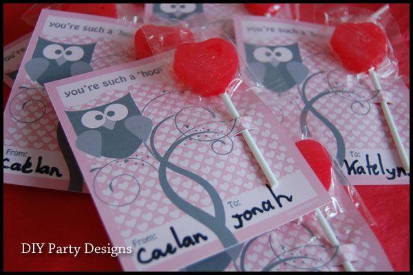 Owl lollipop Valentine's Day Card #owl #Valentine #love #hoot #card #DIY #heart #pink