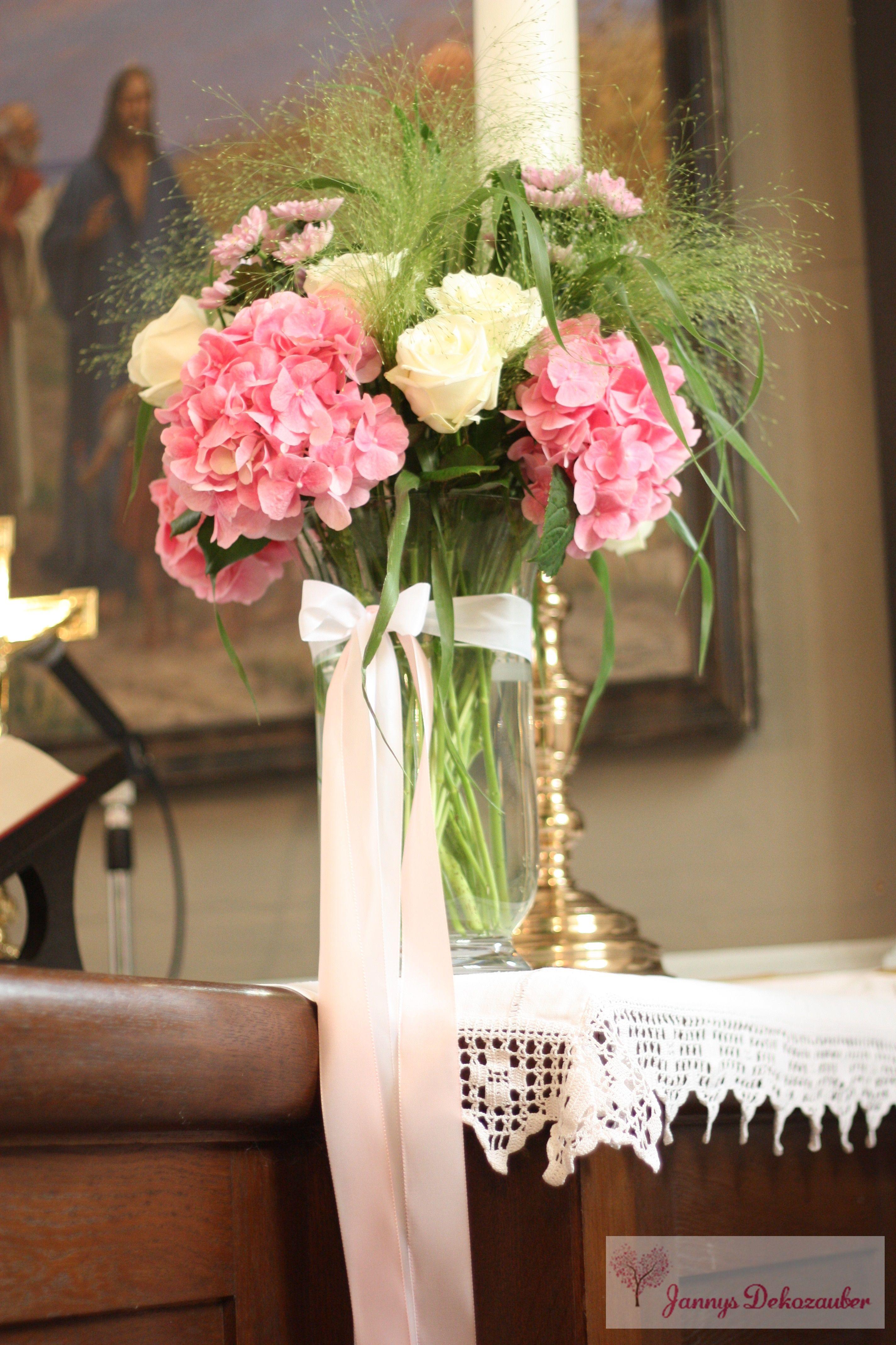kirchendeko blumen vase altar rosa wei hochzeitsdeko tischdeko hochzeit individuell hangemacht. Black Bedroom Furniture Sets. Home Design Ideas