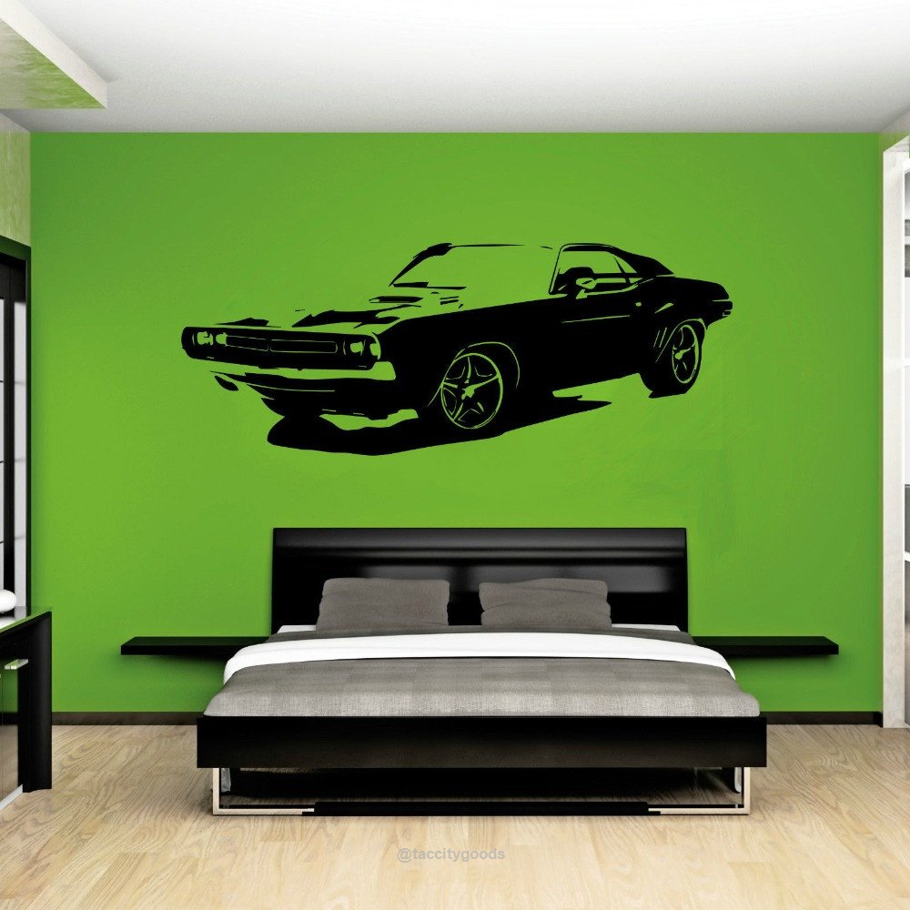 Car Dodge Challenger Wall Sticker Wall Stickers Bedroom Decal Wall Art Wall Sticker [ 1000 x 1000 Pixel ]