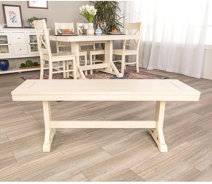 Walker Edison Furniture Company 48 Antique White Millwright Wood Dining  Bench