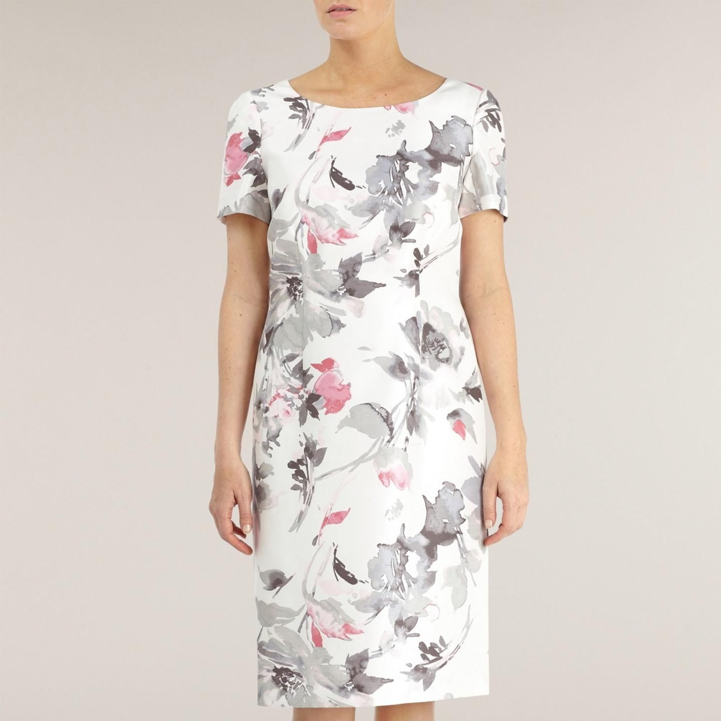 Soft Floral Shift Dress in white, pink and dove grey from Jacques Vert at  debenhams.ie - Fits Fully lined. A great dress up or dress down outfit.