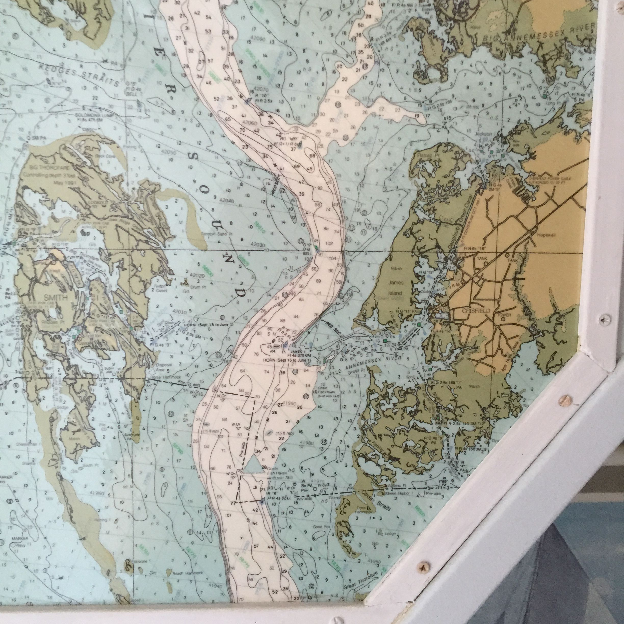 Nautical map of the Smith Island channel
