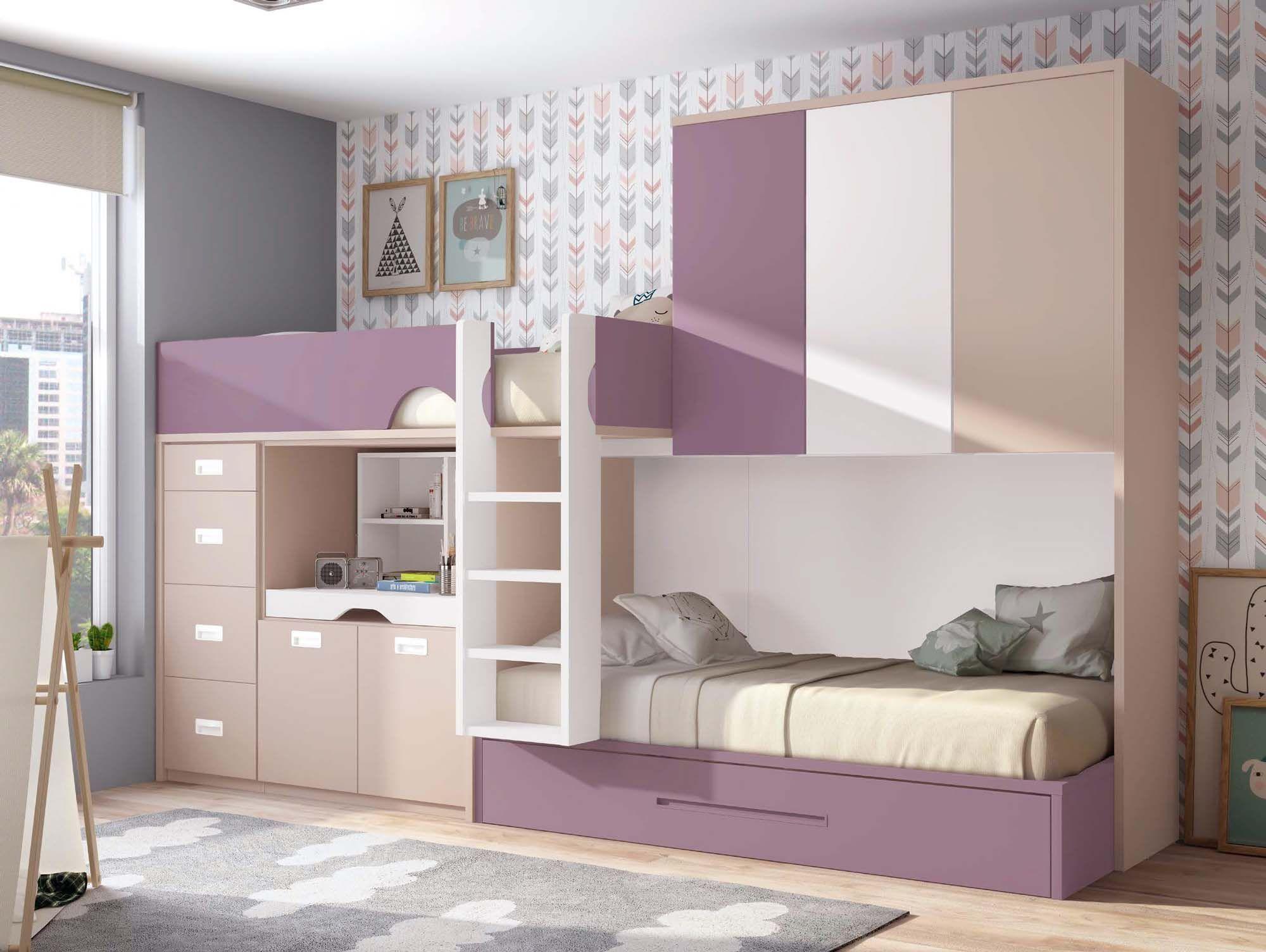 Chambre avec lit superposé fille et lit gigogne PERSONNALISABLE