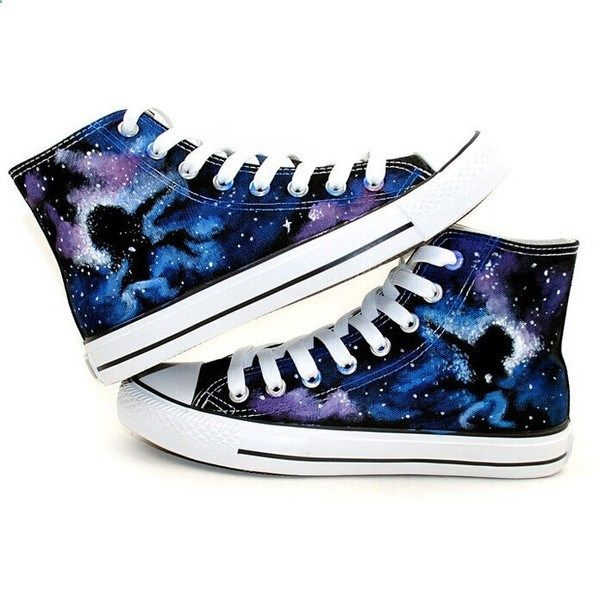 b968186b43fa53 Black Galaxy Converse shoes Custom Converse Galaxy Converse Sneakers... ❤  liked on Polyvore