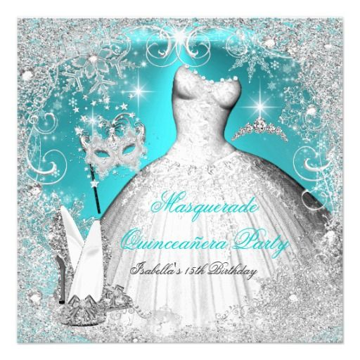 Masquerade Quinceanera Party Teal White Snowflake Card