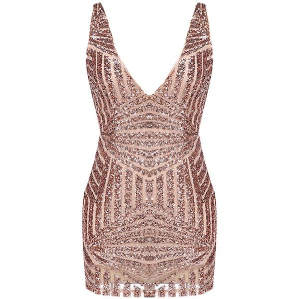 Choies Golden Luxurious Sequin V-neck Backless Sleeveless Bodycon... (135 RON) ❤ liked on Polyvore featuring dresses, vestidos, multi, sequin dress, sequin bodycon dress, v neck cocktail dress, sleeveless cocktail dress en sleeveless bodycon dress