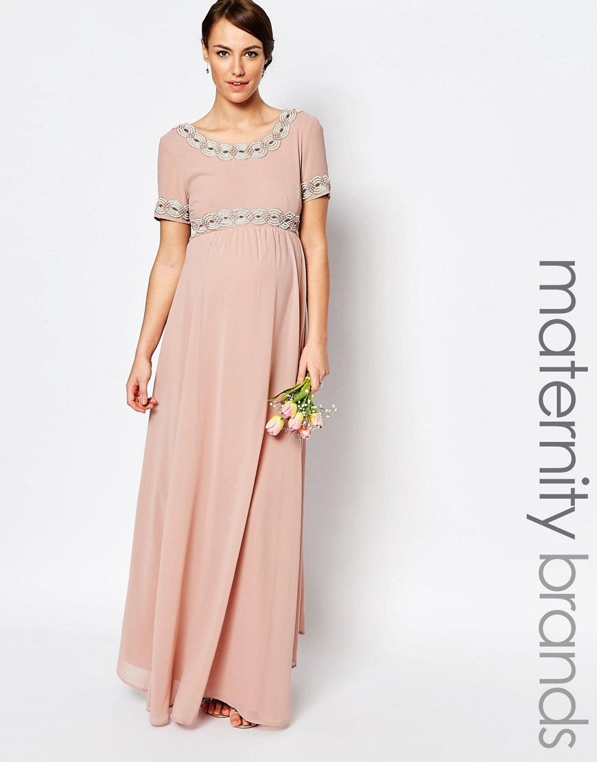 2a665af6669 Image 1 of Maya Maternity Deep Back Maxi Dress With Full Skirt And  Embellishment